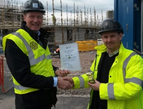 Receiving a health and Safety award on-site